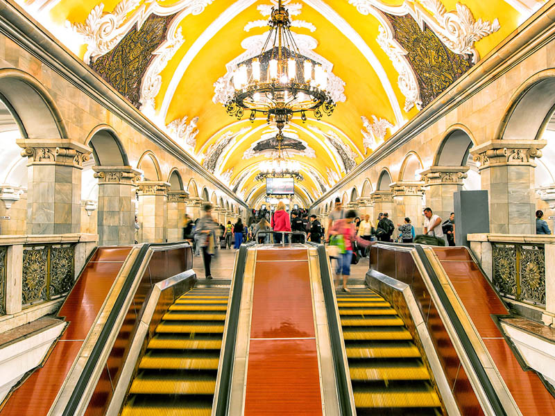 Komsomolskaya subway station in Moscow